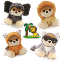 "GUND Itty Bitty Boos #049 Lion, #050 Red Fox, #051 Raccoon, and #052 Elephant Halloween Special Set of 4 Plush 5"" Dogs with Palm Sticker"
