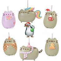 Gund Pusheen the Cat Christmas Holiday Set of 6 Ornaments with Penguin Sticker