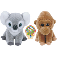 Ty Beanie Beabies Koala Kokoo and Gorilla Monroe Wild Life Gift set of 2 Plush Toys 6-8 inches tall with Bonus Animals Sticker